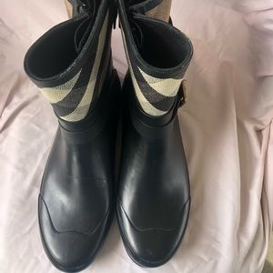 Burberry MidBuckle Canvas Check Rubber Women Boots
